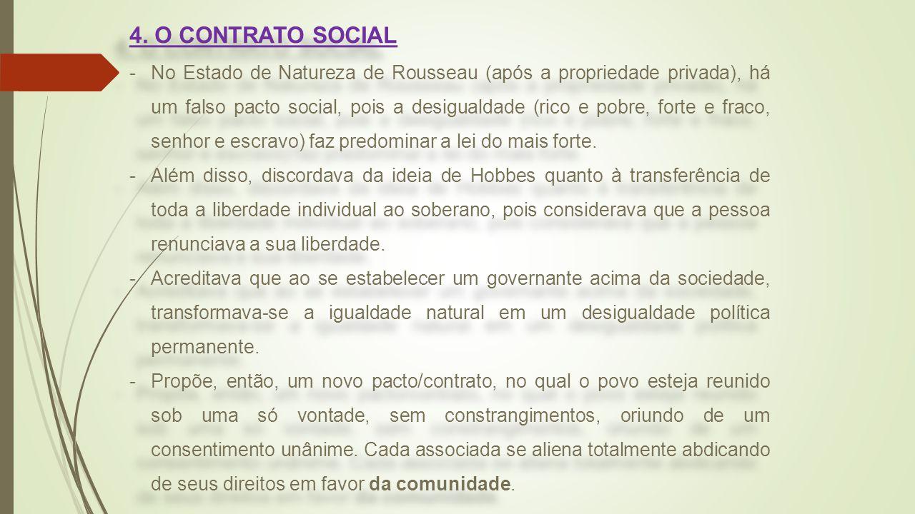 4. O CONTRATO SOCIAL -No Estado de Natureza de Rousseau (após a propriedade privada), há um falso pacto social, pois a desigualdade (rico e pobre, for