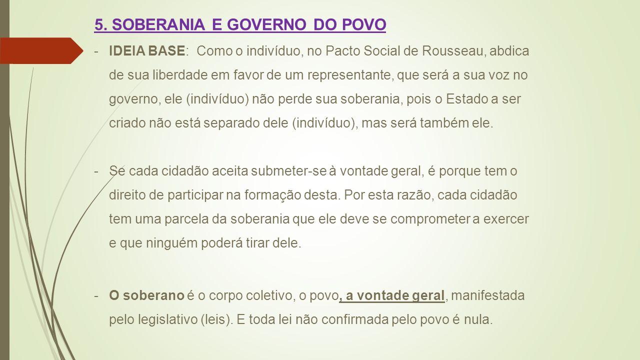 5. SOBERANIA E GOVERNO DO POVO -IDEIA BASE: Como o indivíduo, no Pacto Social de Rousseau, abdica de sua liberdade em favor de um representante, que s