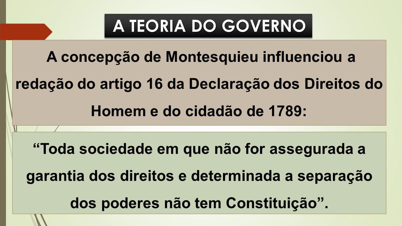 A TEORIA DO GOVERNO A TEORIA DO GOVERNO A concepção de Montesquieu influenciou a redação do artigo 16 da Declaração dos Direitos do Homem e do cidadão