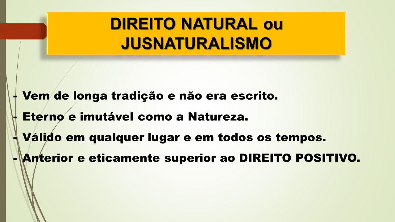 DIREITO NATURAL ou JUSNATURALISMO JUSNATURALISMO -Vem de longa tradição e não era escrito. -Eterno e imutável como a Natureza. -Válido em qualquer lug