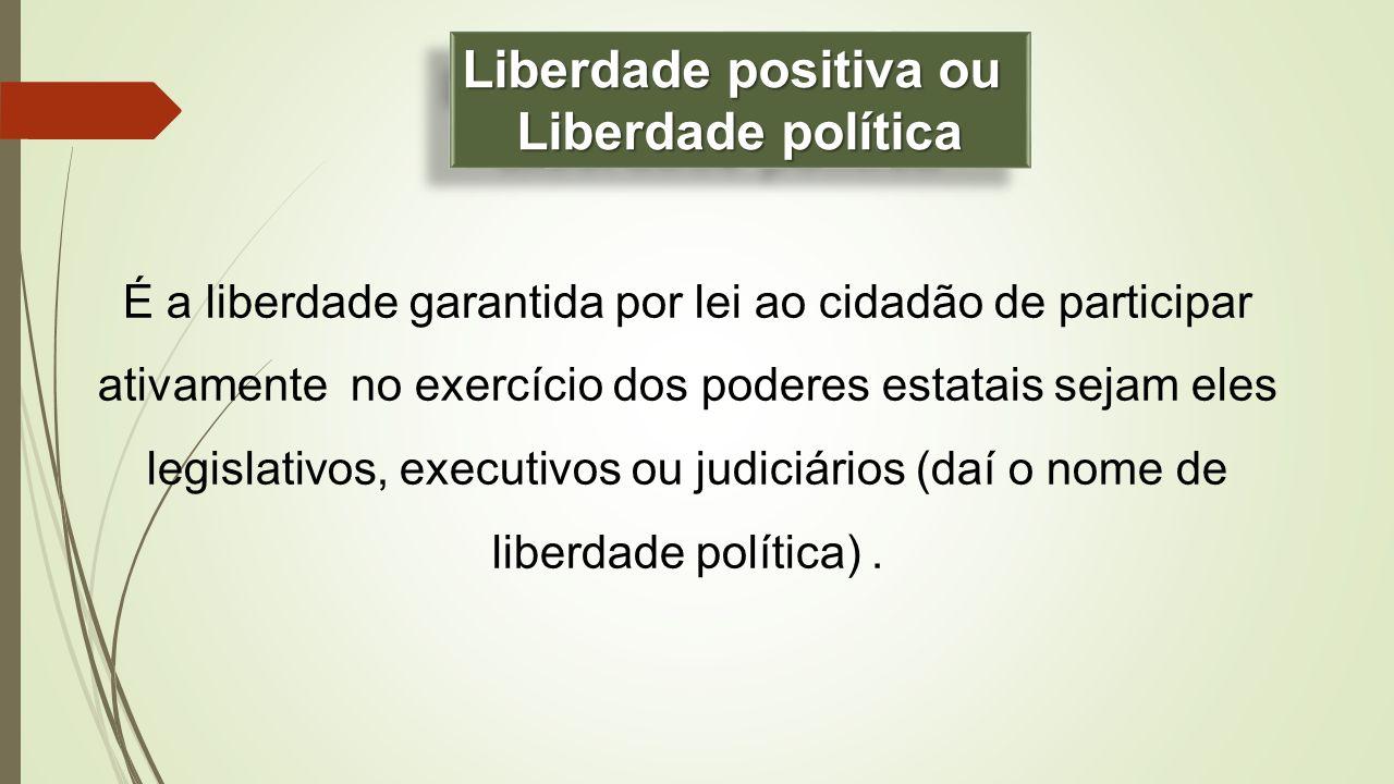 É a liberdade garantida por lei ao cidadão de participar ativamente no exercício dos poderes estatais sejam eles legislativos, executivos ou judiciári