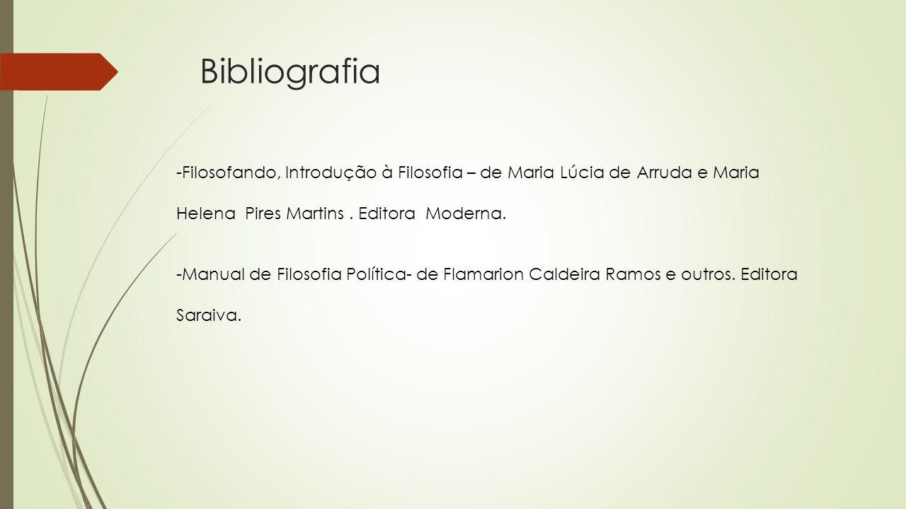 Bibliografia -Filosofando, Introdução à Filosofia – de Maria Lúcia de Arruda e Maria Helena Pires Martins. Editora Moderna. -Manual de Filosofia Polít