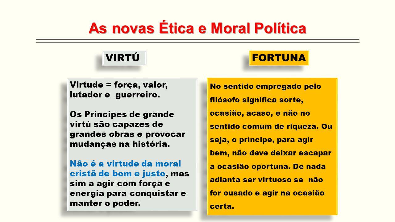 As novas Ética e Moral Política Virtude = força, valor, lutador e guerreiro. Os Príncipes de grande virtú são capazes de grandes obras e provocar muda