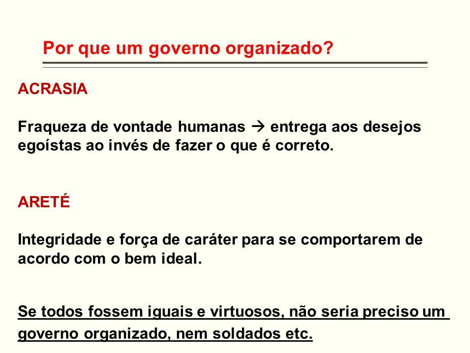 Por que um governo organizado? ACRASIA Fraqueza de vontade humanas  entrega aos desejos egoístas ao invés de fazer o que é correto. ARETÉ Integridade