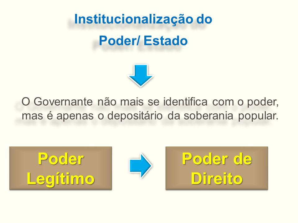 Institucionalização do Poder/ Estado Institucionalização do Poder/ Estado O Governante não mais se identifica com o poder, mas é apenas o depositário