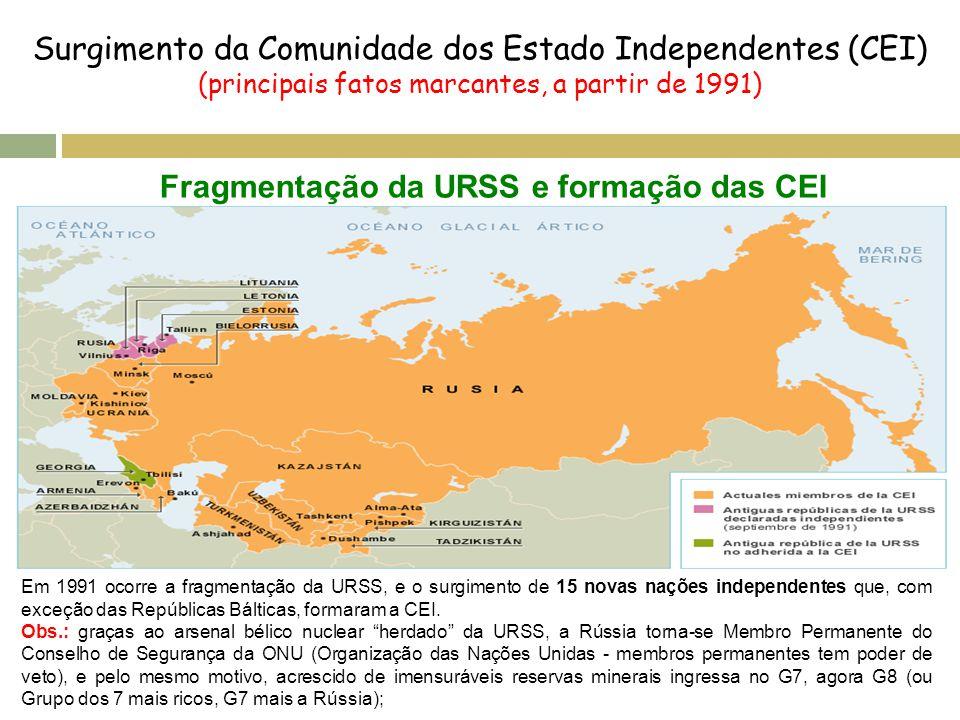 Surgimento da Comunidade dos Estado Independentes (CEI) (principais fatos marcantes, a partir de 1991) Fragmentação da URSS e formação das CEI Em 1991