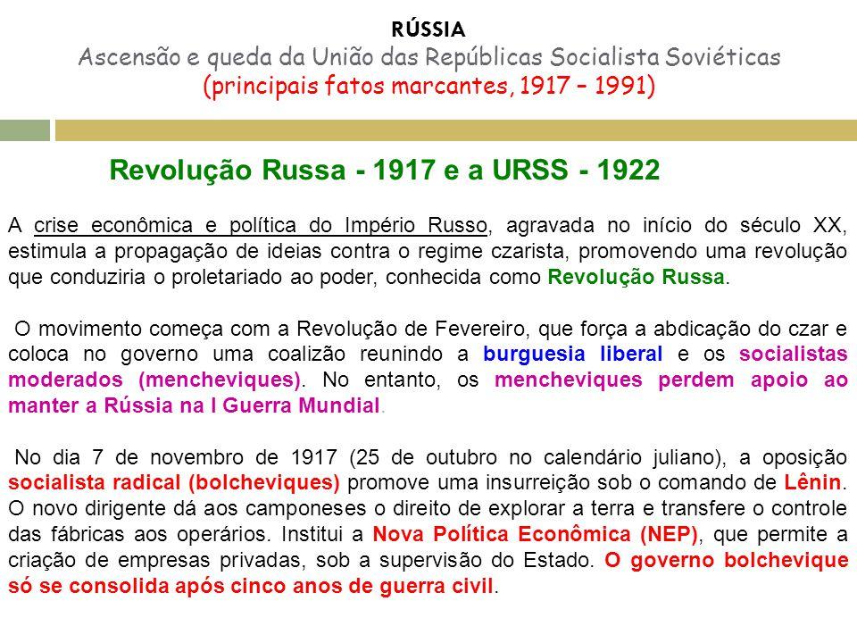 RÚSSIA Ascensão e queda da União das Repúblicas Socialista Soviéticas (principais fatos marcantes, 1917 – 1991) Revolução Russa - 1917 e a URSS - 1922