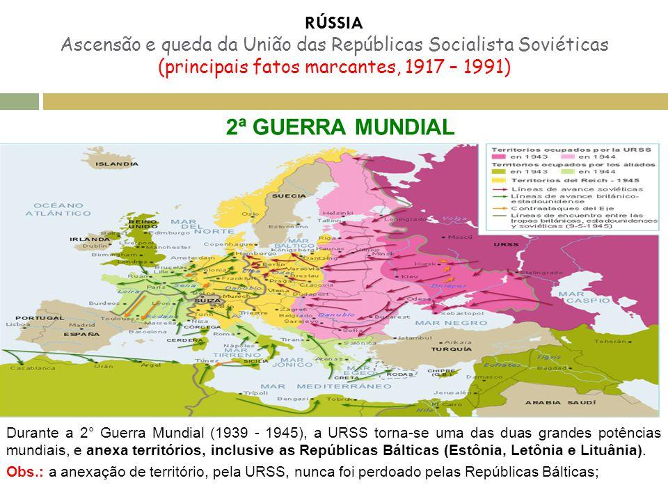 RÚSSIA Ascensão e queda da União das Repúblicas Socialista Soviéticas (principais fatos marcantes, 1917 – 1991) 2ª GUERRA MUNDIAL Durante a 2° Guerra