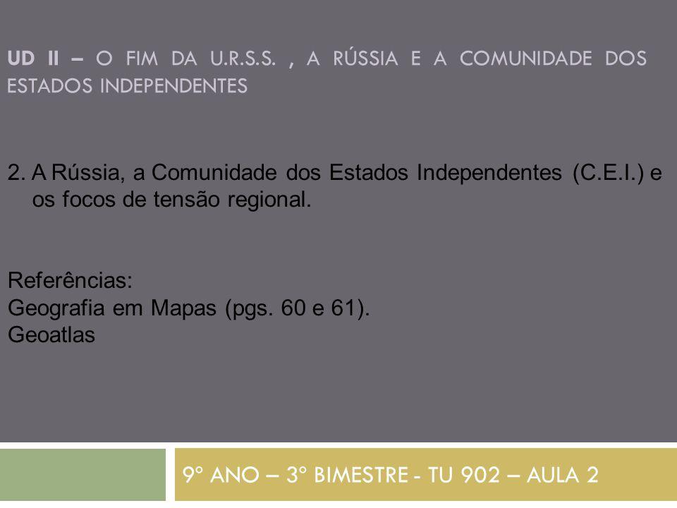 UD II – O FIM DA U.R.S.S., A RÚSSIA E A COMUNIDADE DOS ESTADOS INDEPENDENTES 9º ANO – 3º BIMESTRE - TU 902 – AULA 2 2.