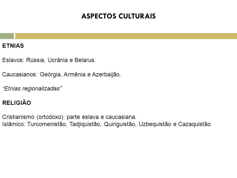 """ETNIAS Eslavos: Rússia, Ucrânia e Belarus. Caucasianos: Geórgia, Armênia e Azerbaijão. """"Etnias regionalizadas"""" RELIGIÃO Cristianismo (ortodoxo): parte"""