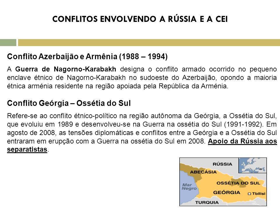 CONFLITOS ENVOLVENDO A RÚSSIA E A CEI Conflito Azerbaijão e Armênia (1988 – 1994) A Guerra de Nagorno-Karabakh designa o conflito armado ocorrido no pequeno enclave étnico de Nagorno-Karabakh no sudoeste do Azerbaijão, opondo a maioria étnica arménia residente na região apoiada pela República da Arménia.