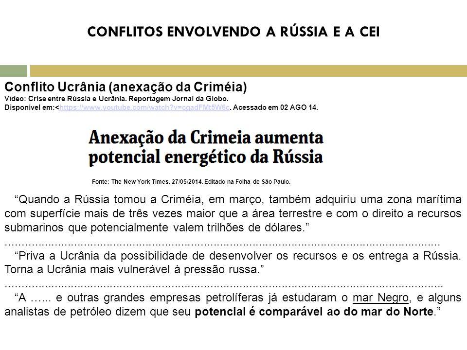 CONFLITOS ENVOLVENDO A RÚSSIA E A CEI Conflito Ucrânia (anexação da Criméia) Vídeo: Crise entre Rússia e Ucrânia. Reportagem Jornal da Globo. Disponív