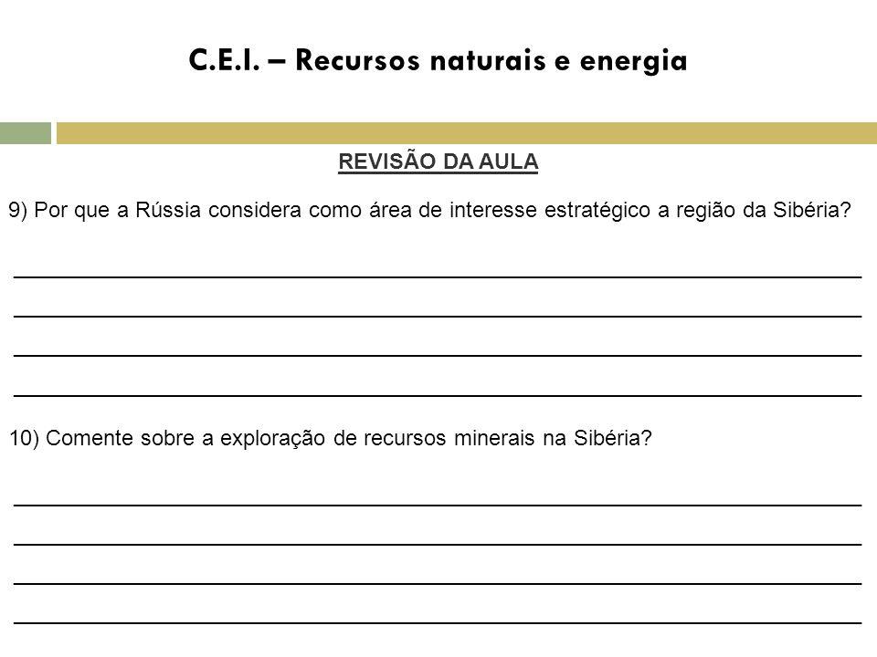 C.E.I. – Recursos naturais e energia REVISÃO DA AULA 9) Por que a Rússia considera como área de interesse estratégico a região da Sibéria? ___________