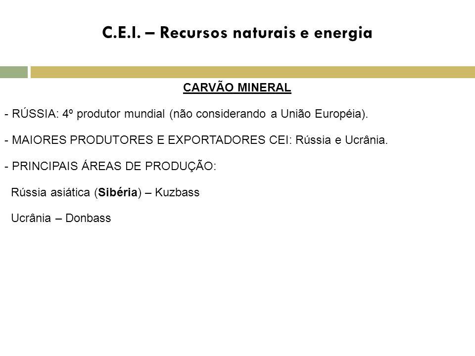 C.E.I. – Recursos naturais e energia CARVÃO MINERAL - RÚSSIA: 4º produtor mundial (não considerando a União Européia). - MAIORES PRODUTORES E EXPORTAD