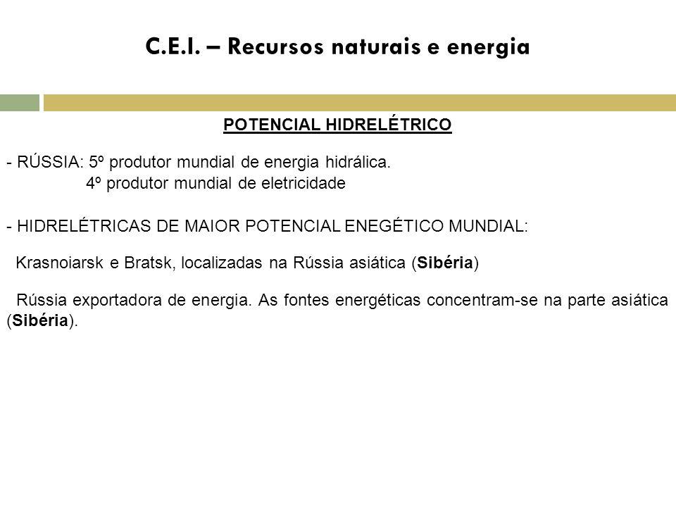 C.E.I. – Recursos naturais e energia POTENCIAL HIDRELÉTRICO - RÚSSIA: 5º produtor mundial de energia hidrálica. 4º produtor mundial de eletricidade -