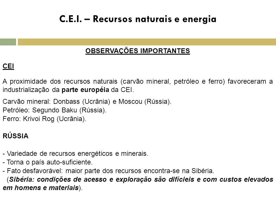 C.E.I. – Recursos naturais e energia OBSERVAÇÕES IMPORTANTES CEI A proximidade dos recursos naturais (carvão mineral, petróleo e ferro) favoreceram a