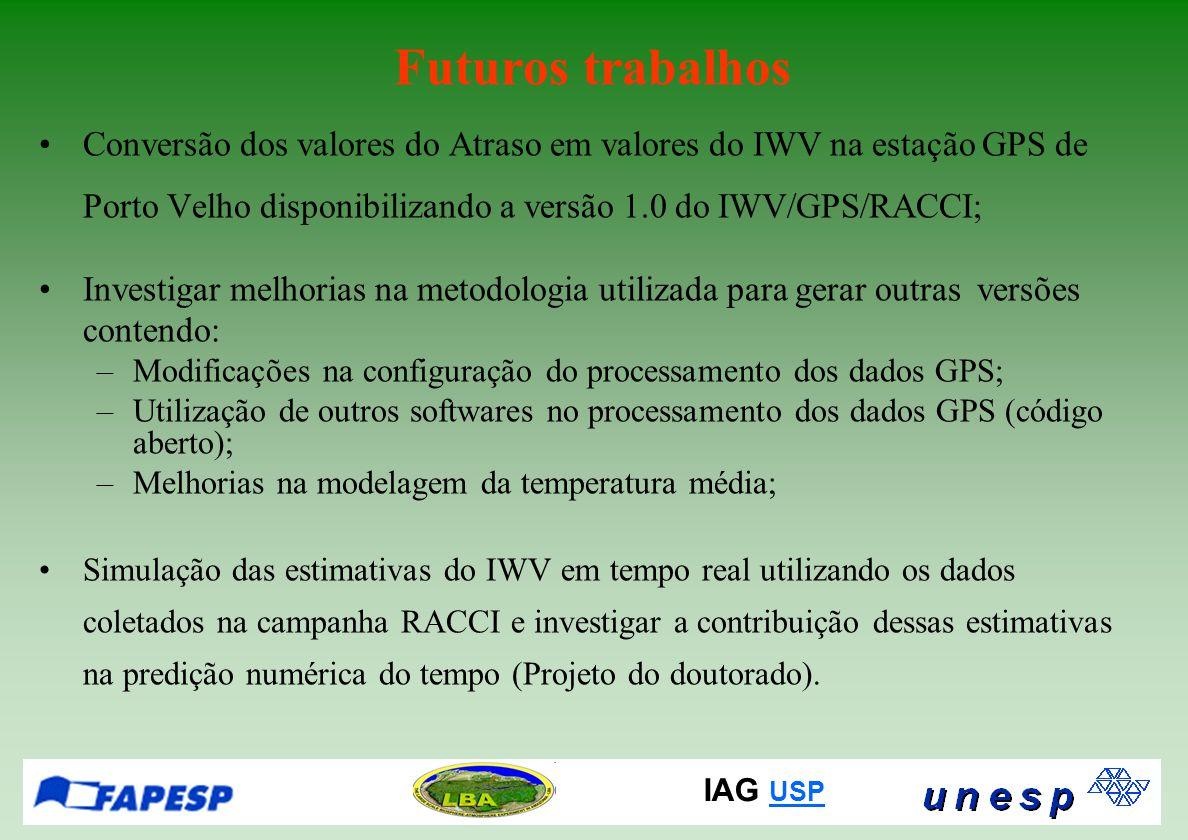 IAG USP USP Futuros trabalhos Conversão dos valores do Atraso em valores do IWV na estação GPS de Porto Velho disponibilizando a versão 1.0 do IWV/GPS/RACCI; Investigar melhorias na metodologia utilizada para gerar outras versões contendo: –Modificações na configuração do processamento dos dados GPS; –Utilização de outros softwares no processamento dos dados GPS (código aberto); –Melhorias na modelagem da temperatura média; Simulação das estimativas do IWV em tempo real utilizando os dados coletados na campanha RACCI e investigar a contribuição dessas estimativas na predição numérica do tempo (Projeto do doutorado).