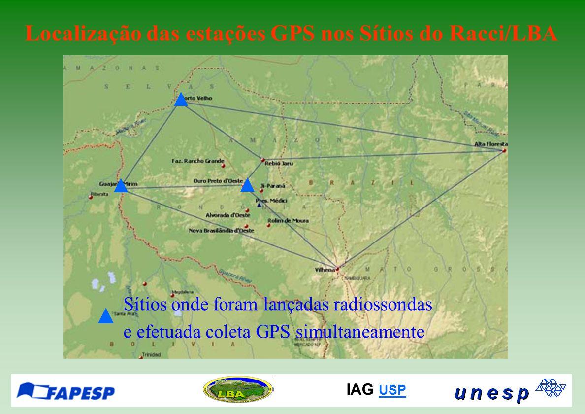 IAG USP USP Diferentes receptores GPS de diferentes fabricantes foram utilizados no Racci/LBA Qual o resultado da comparação dos valores de IWV obtidos pelos diferentes receptores utilizados na campanha RACCI/LBA??.
