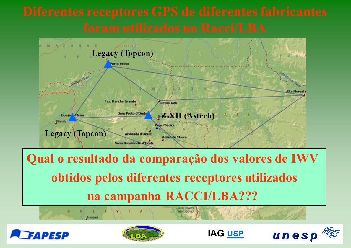 IAG USP USP Diferentes receptores GPS de diferentes fabricantes foram utilizados no Racci/LBA Qual o resultado da comparação dos valores de IWV obtidos pelos diferentes receptores utilizados na campanha RACCI/LBA .