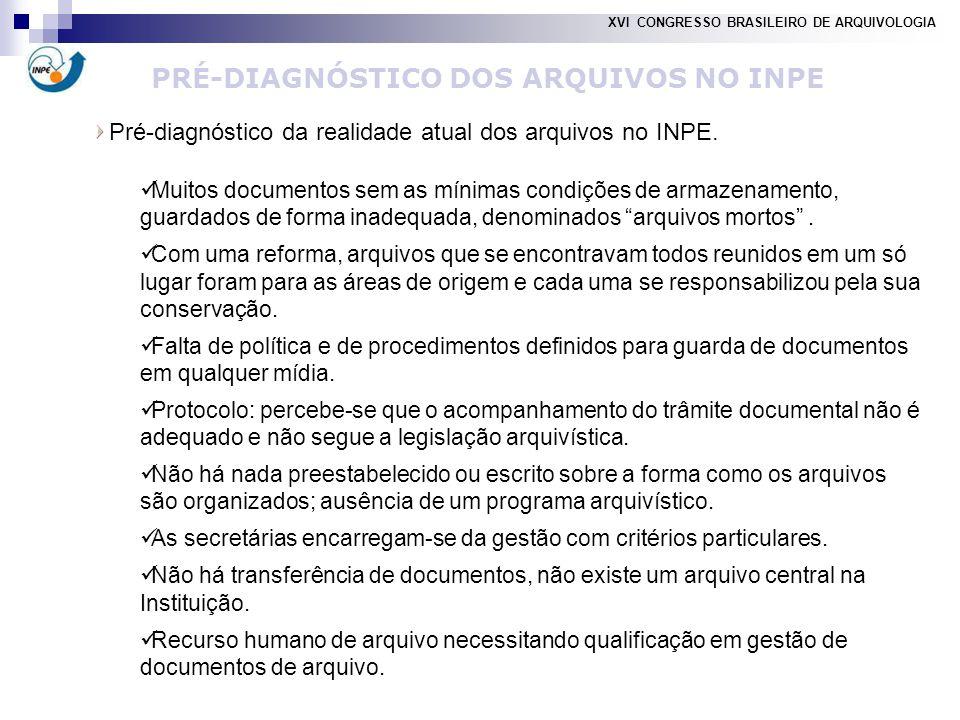 Pré-diagnóstico da realidade atual dos arquivos no INPE.