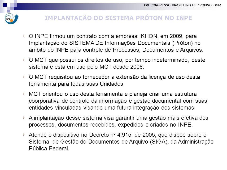 O INPE firmou um contrato com a empresa IKHON, em 2009, para Implantação do SISTEMA DE Informações Documentais (Próton) no âmbito do INPE para controle de Processos, Documentos e Arquivos.
