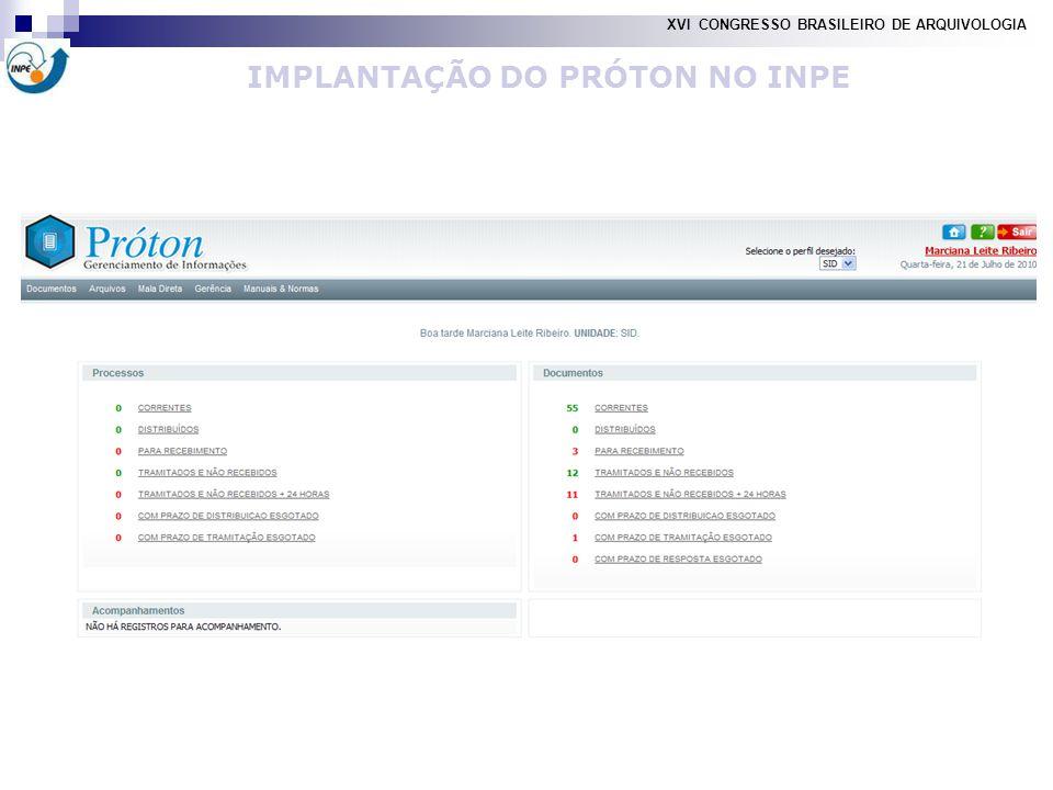 IMPLANTAÇÃO DO PRÓTON NO INPE XVI CONGRESSO BRASILEIRO DE ARQUIVOLOGIA