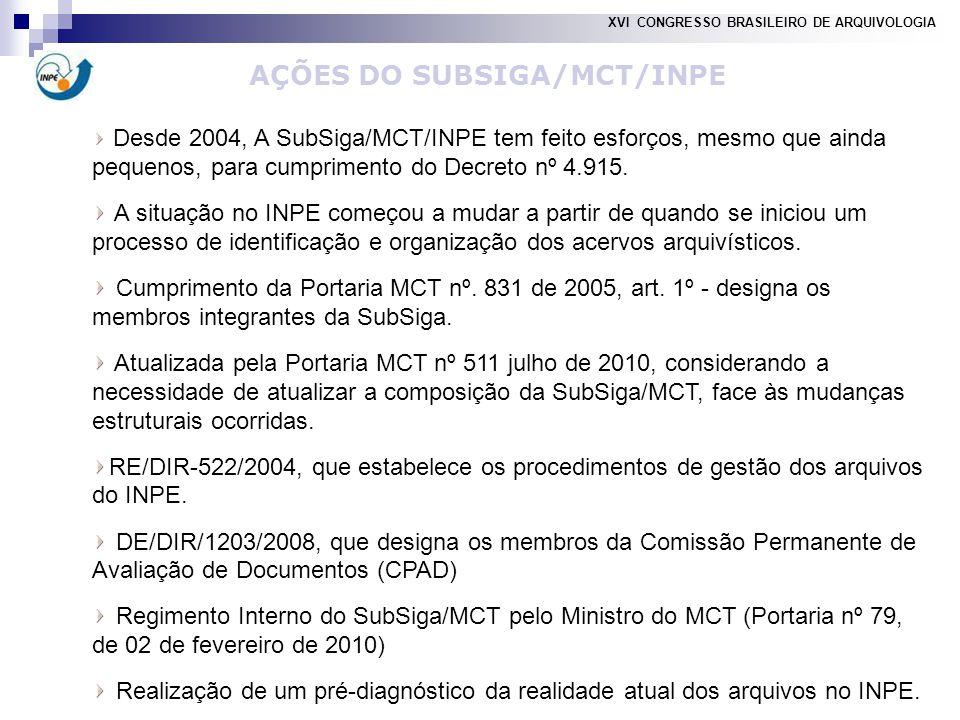 AÇÕES DO SUBSIGA/MCT/INPE Desde 2004, A SubSiga/MCT/INPE tem feito esforços, mesmo que ainda pequenos, para cumprimento do Decreto nº 4.915.