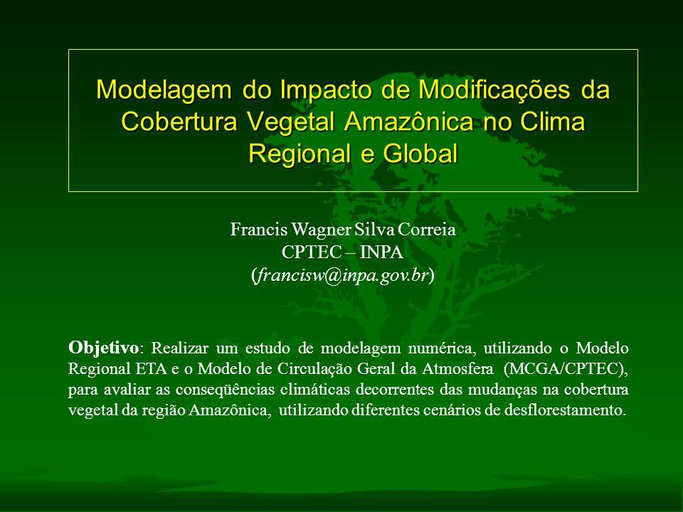 Modelagem do Impacto de Modificações da Cobertura Vegetal Amazônica no Clima Regional e Global Francis Wagner Silva Correia CPTEC – INPA (francisw@inp