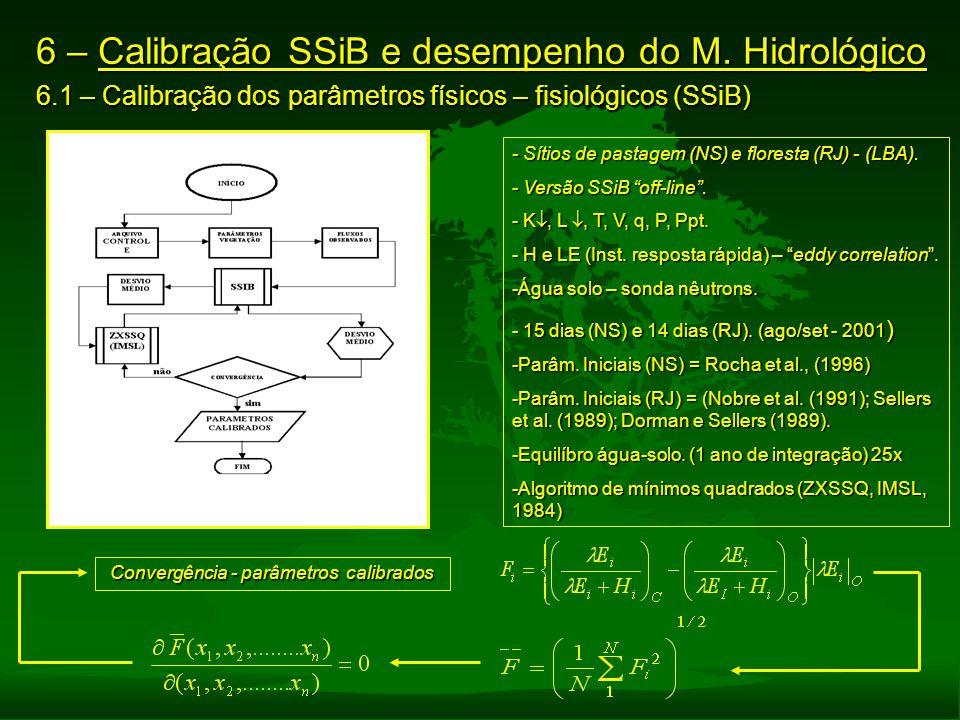 6 – Calibração SSiB e desempenho do M. Hidrológico 6.1 – Calibração dos parâmetros físicos – fisiológicos (SSiB) - Sítios de pastagem (NS) e floresta