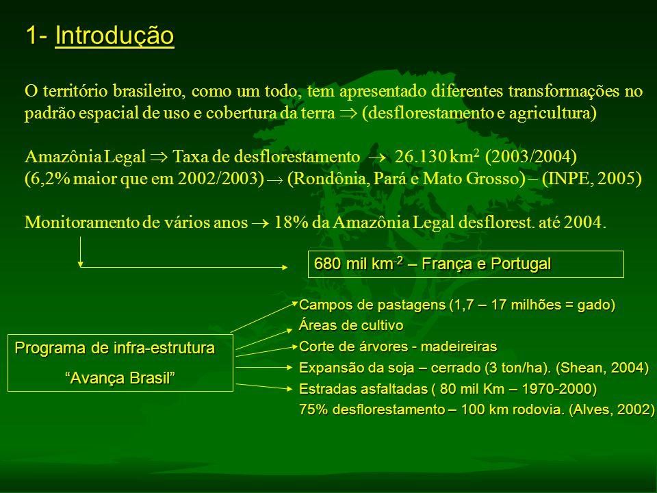1- Introdução O território brasileiro, como um todo, tem apresentado diferentes transformações no padrão espacial de uso e cobertura da terra  (desfl
