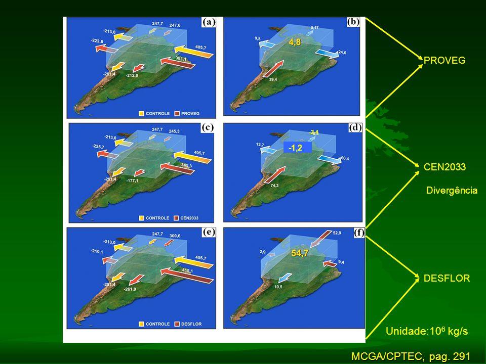 PROVEG CEN2033 DESFLOR MCGA/CPTEC, pag. 291 -1,2 -2,4 Divergência Unidade:10 6 kg/s