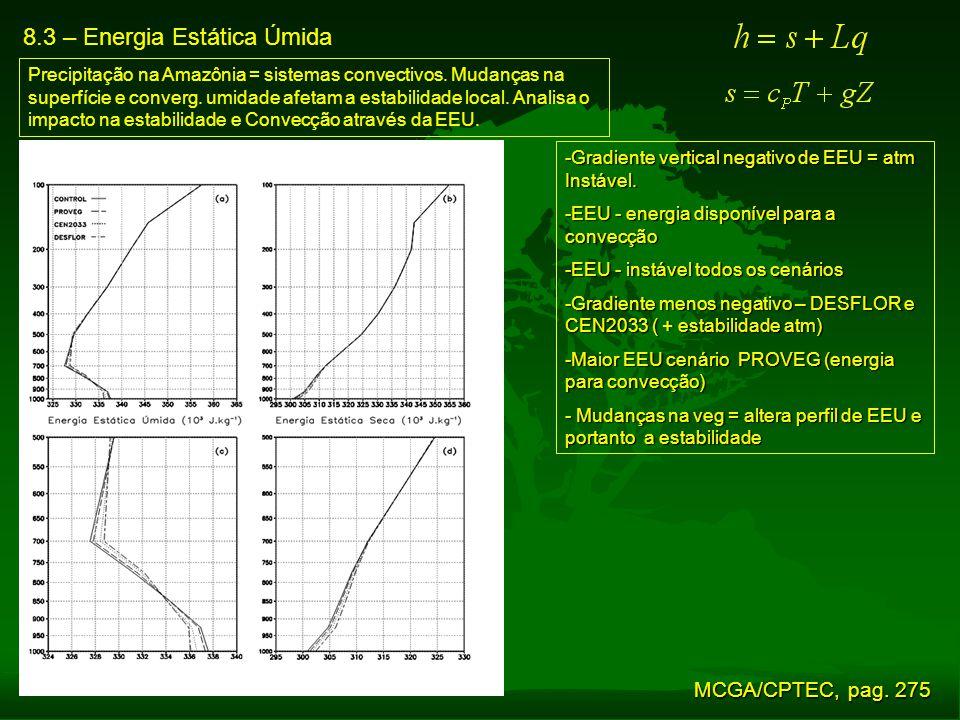 8.3 – Energia Estática Úmida Precipitação na Amazônia = sistemas convectivos. Mudanças na superfície e converg. umidade afetam a estabilidade local. A