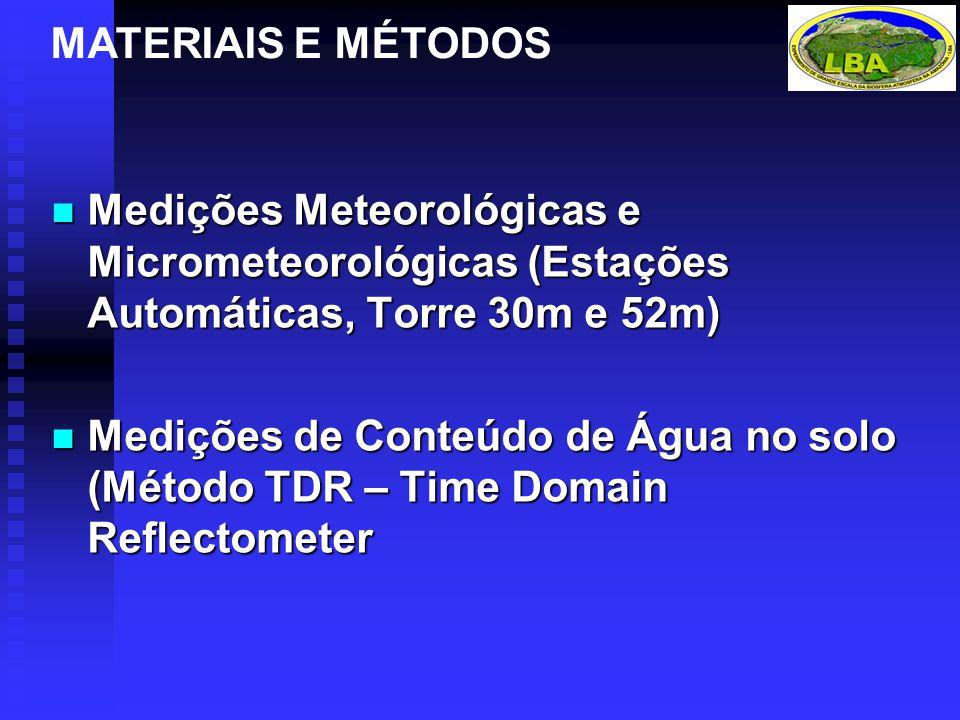 Medições Meteorológicas e Micrometeorológicas (Estações Automáticas, Torre 30m e 52m) Medições Meteorológicas e Micrometeorológicas (Estações Automáticas, Torre 30m e 52m) Medições de Conteúdo de Água no solo (Método TDR – Time Domain Reflectometer Medições de Conteúdo de Água no solo (Método TDR – Time Domain Reflectometer MATERIAIS E MÉTODOS