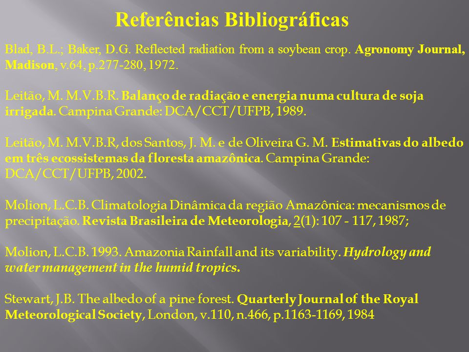 Referências Bibliográficas Blad, B.L.; Baker, D.G. Reflected radiation from a soybean crop. Agronomy Journal, Madison, v.64, p.277-280, 1972. Leitão,