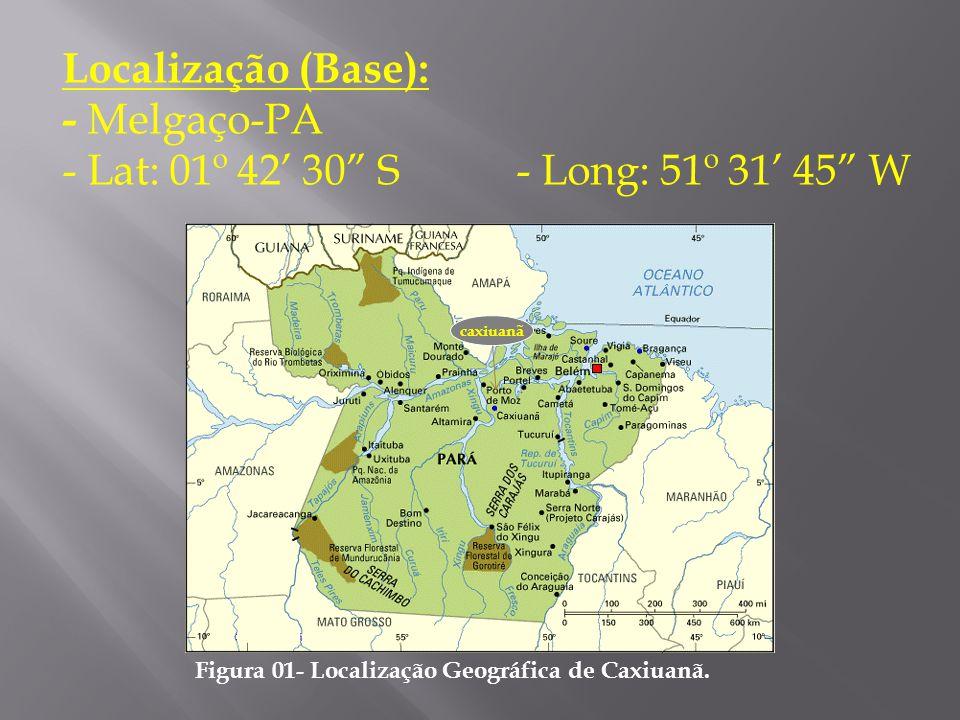 """Localização (Base): - Melgaço-PA - Lat: 01º 42' 30"""" S - Long: 51º 31' 45"""" W Figura 01- Localização Geográfica de Caxiuanã. caxiuanã"""