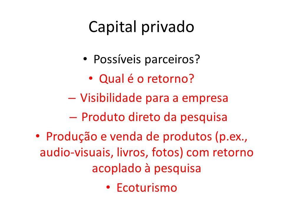 Capital privado Possíveis parceiros? Qual é o retorno? – Visibilidade para a empresa – Produto direto da pesquisa Produção e venda de produtos (p.ex.,