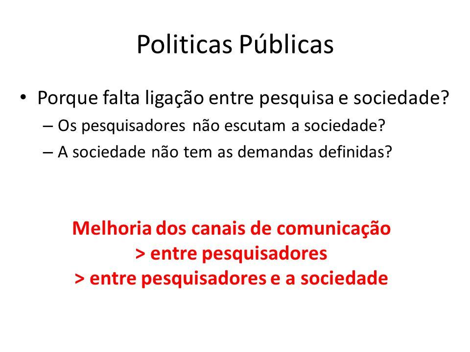 Politicas Públicas Porque falta ligação entre pesquisa e sociedade? – Os pesquisadores não escutam a sociedade? – A sociedade não tem as demandas defi