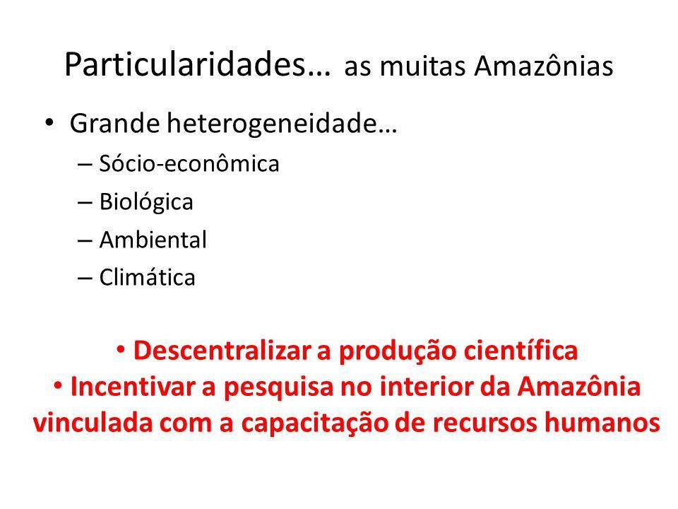 Particularidades… as muitas Amazônias Grande heterogeneidade… – Sócio-econômica – Biológica – Ambiental – Climática Descentralizar a produção científi