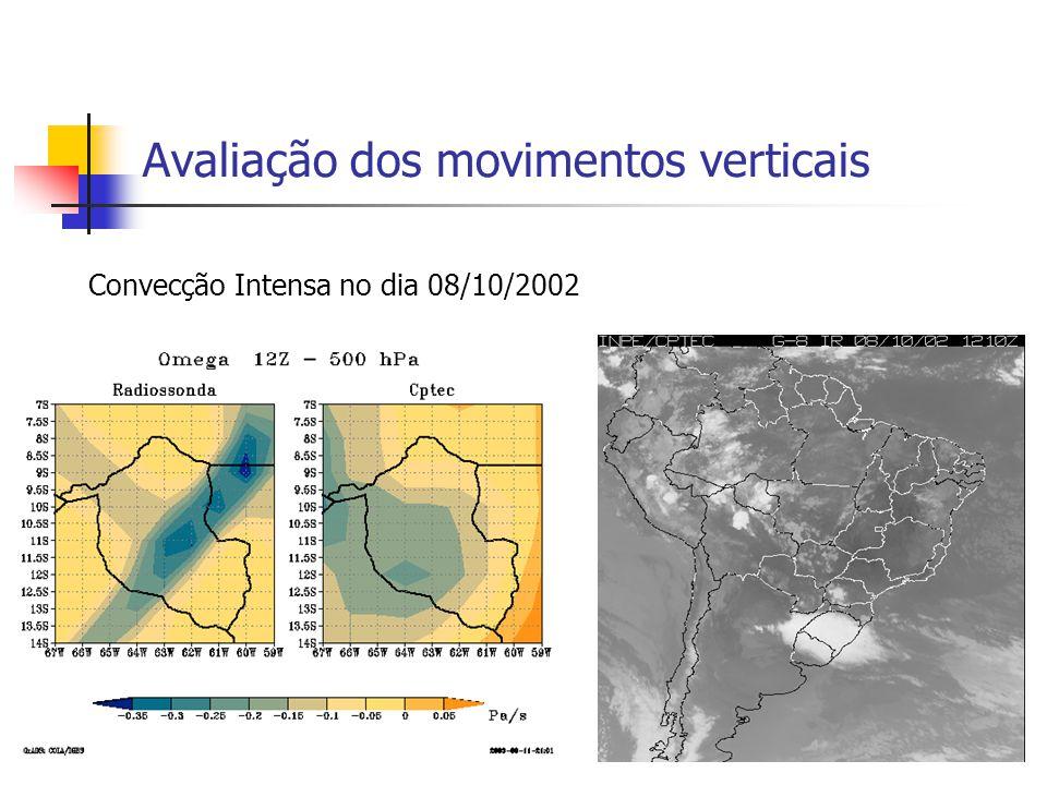 Avaliação dos movimentos verticais Convecção Intensa no dia 08/10/2002