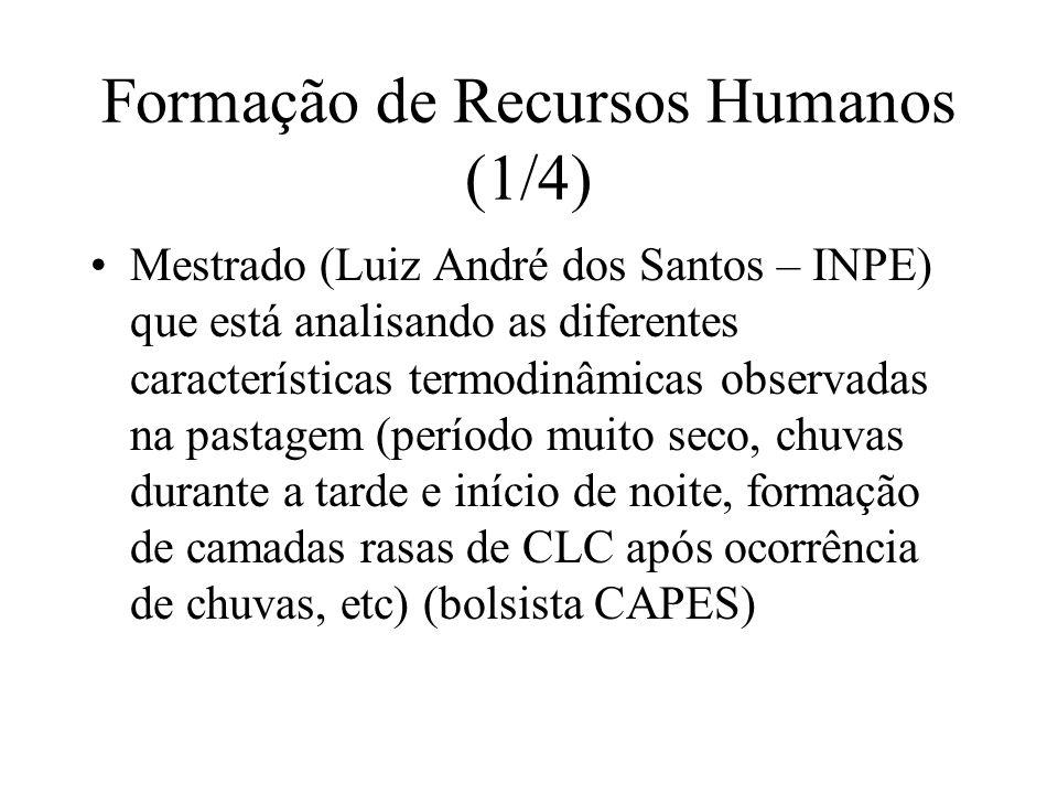 Formação de Recursos Humanos (1/4) Mestrado (Luiz André dos Santos – INPE) que está analisando as diferentes características termodinâmicas observadas na pastagem (período muito seco, chuvas durante a tarde e início de noite, formação de camadas rasas de CLC após ocorrência de chuvas, etc) (bolsista CAPES)