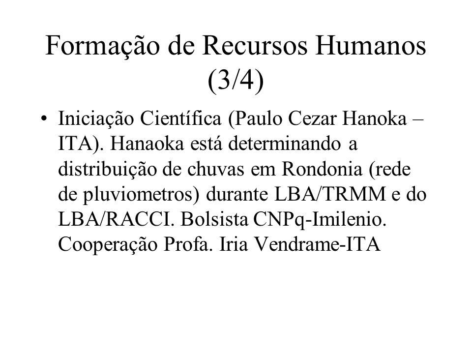 Formação de Recursos Humanos (3/4) Iniciação Científica (Paulo Cezar Hanoka – ITA).