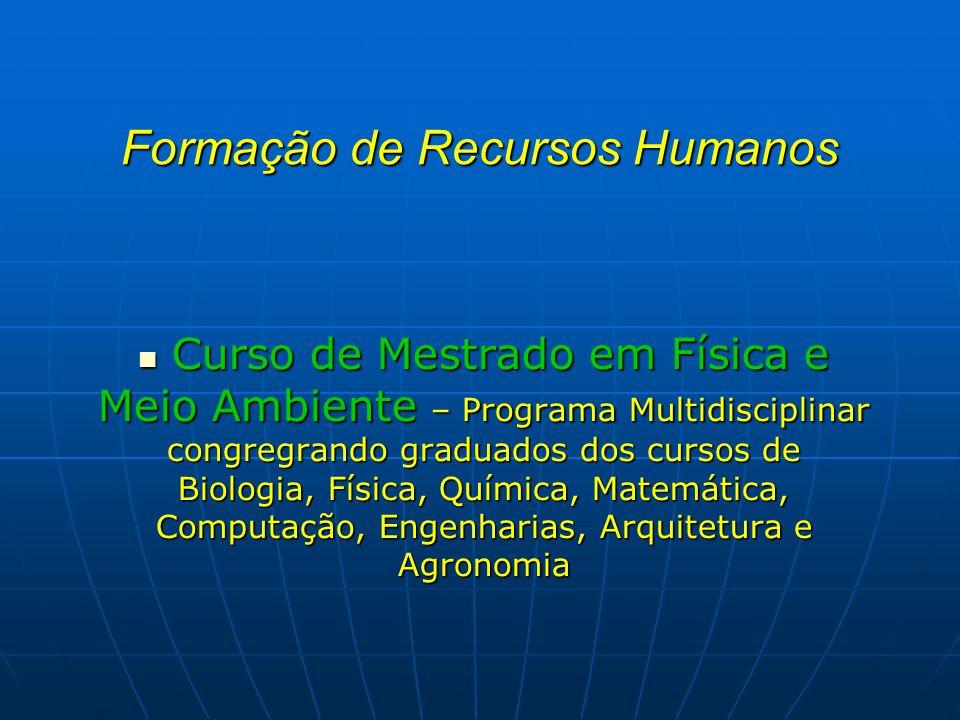 Formação de Recursos Humanos Curso de Mestrado em Física e Meio Ambiente – Programa Multidisciplinar congregrando graduados dos cursos de Biologia, Fí