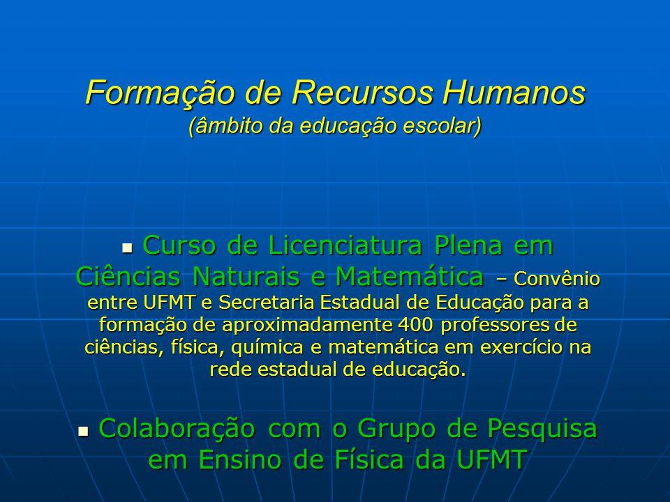 Formação de Recursos Humanos (âmbito da educação escolar) Curso de Licenciatura Plena em Ciências Naturais e Matemática – Convênio entre UFMT e Secret