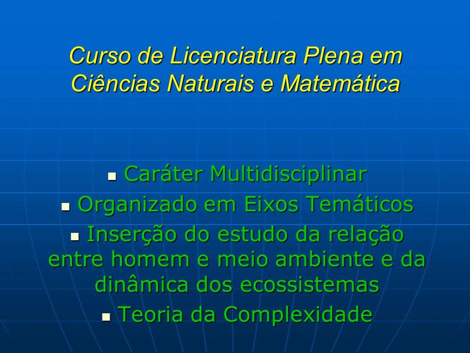 Curso de Licenciatura Plena em Ciências Naturais e Matemática Caráter Multidisciplinar Caráter Multidisciplinar Organizado em Eixos Temáticos Organiza
