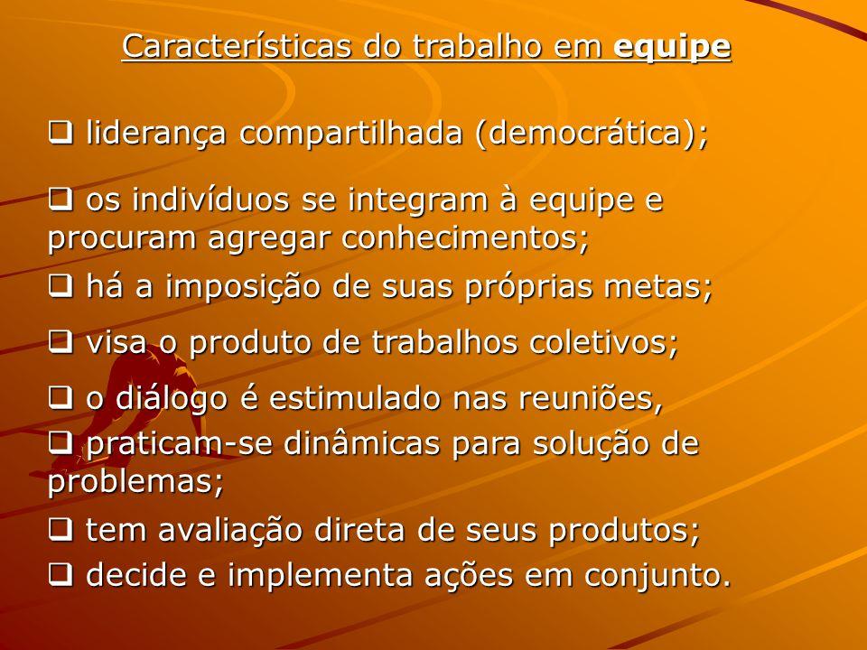 Características do trabalho em equipe  liderança compartilhada (democrática);  os indivíduos se integram à equipe e procuram agregar conhecimentos;