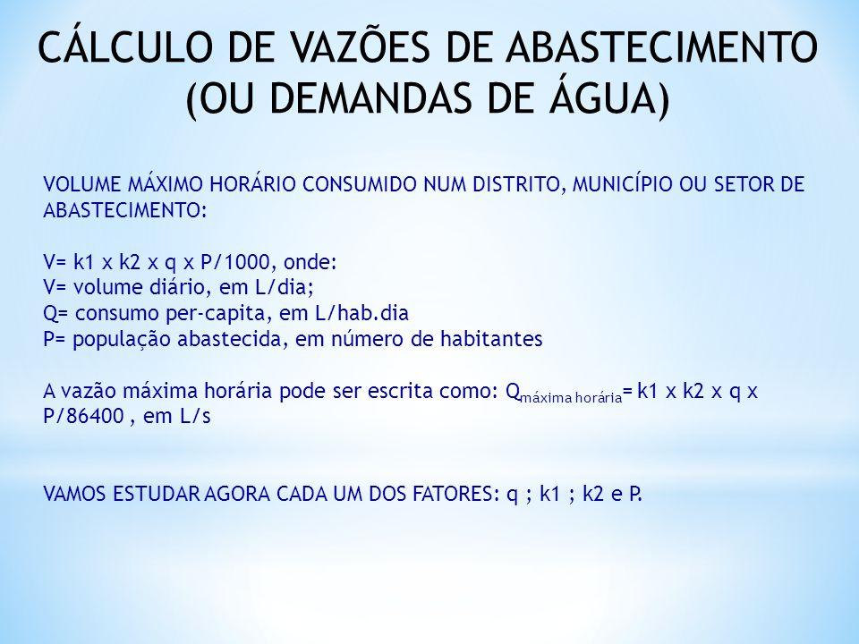 CÁLCULO DE VAZÕES DE ABASTECIMENTO (OU DEMANDAS DE ÁGUA) VOLUME MÁXIMO HORÁRIO CONSUMIDO NUM DISTRITO, MUNICÍPIO OU SETOR DE ABASTECIMENTO: V= k1 x k2