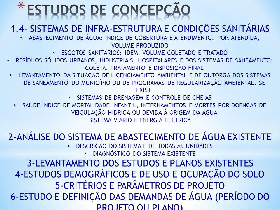1.4- SISTEMAS DE INFRA-ESTRUTURA E CONDIÇÕES SANITÁRIAS ABASTECIMENTO DE ÁGUA: INDICE DE COBERTURA E ATENDIMENTO, POP. ATENDIDA, VOLUME PRODUZIDO ESGO