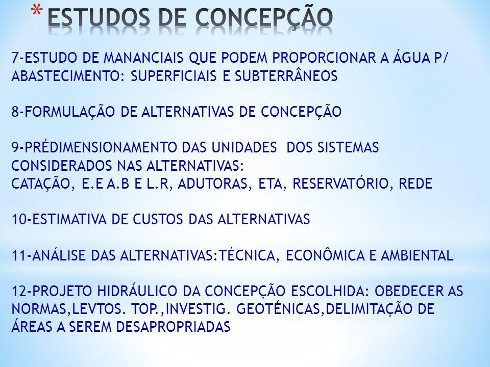 7-ESTUDO DE MANANCIAIS QUE PODEM PROPORCIONAR A ÁGUA P/ ABASTECIMENTO: SUPERFICIAIS E SUBTERRÂNEOS 8-FORMULAÇÃO DE ALTERNATIVAS DE CONCEPÇÃO 9-PRÉDIME