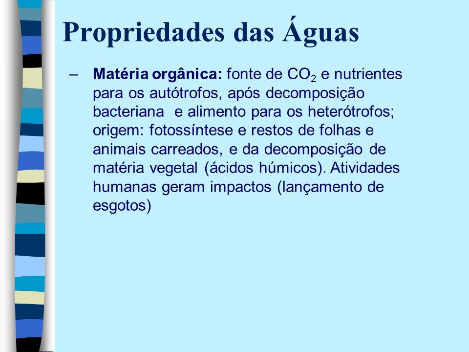 Propriedades das Águas –Matéria orgânica: fonte de CO 2 e nutrientes para os autótrofos, após decomposição bacteriana e alimento para os heterótrofos;
