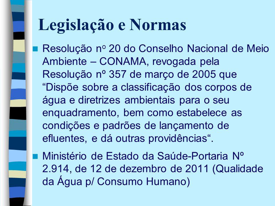 """Legislação e Normas Resolução n o 20 do Conselho Nacional de Meio Ambiente – CONAMA, revogada pela Resolução nº 357 de março de 2005 que """"Dispõe sobre"""